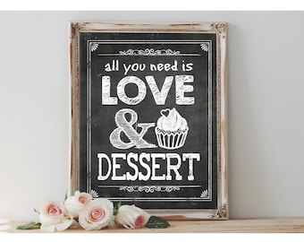 Instant 'all you need IS LOVE and DESSERT' Printable Sign Chalkboard Party Decor Dessert Cupcake Table Chalkboard Size Options
