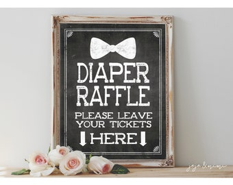 Instant 'Diaper Raffle' Please leave your TICKETS here Printable 8x10, 11X14 Baby Shower Digital Sign Chalkboard Diaper Bowtie Little Man