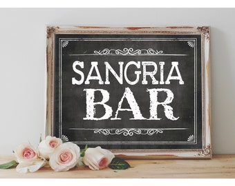 Instant 'SANGRIA BAR' Printable Sign Chalkboard Printable Party Liquor Sangria Table Wedding Event Party Sign Size Options