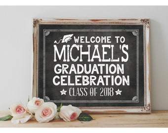 Personalized Welcome Graduation Sign Printable 8x10, 11X14 Grad Party Sign Party Printable Chalkboard Size Options