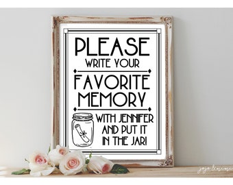 Personalized 'Please write your favorite memory with NAME and put it in the jar' Printable Graduation Bon Voyage Memory Jar Modern Sign