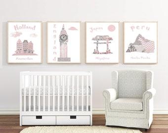 cb9b5e1be 96 Nusery wall art, nursery travel theme,pink,gray, Nursery print, baby  girl nursery,Holland,Japan,England,Peru
