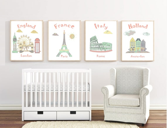 155nursery Wall Artbaby Room Decortravel Theme Etsy