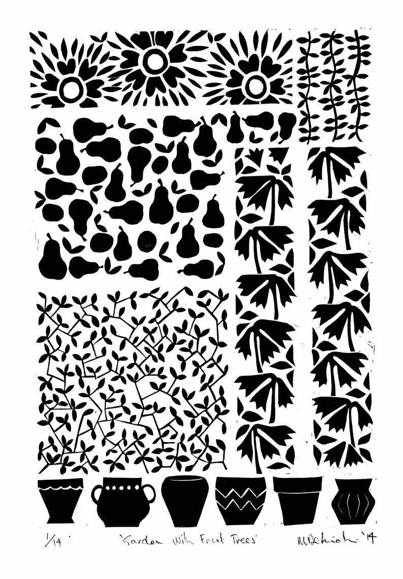 Original Artwork. Linoprint Garden with Fruit Trees 2014