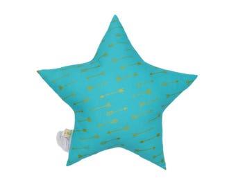 Star cushion cotton gold arrows