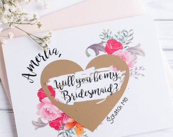 Bridesmaid Proposal Scratch Off Card, Will You Be My Bridesmaid Card, Bridesmaid Proposal Card, Wedding Card, Bridesmaid Gift