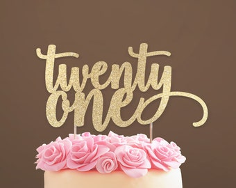 Twenty One Cake Topper 21 21st Birthday Decorations Milestone Age Decoration