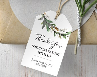 greenery wedding favor tags wedding gift tags rustic wedding thank you tags leaves gift tags botanical wedding thank you for celebrating