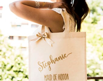 Bridesmaid Tote Bag Gold Bridesmaid Bag Canvas Bag Personalized Bridesmaid Gift Bag Monogrammed Bridal Party Tote Bag