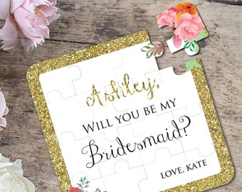 Will You Be My Bridesmaid Puzzle Bridesmaid Proposal Bridesmaid Gift Ask Bridesmaid Be my Bridesmaid Gold Puzzle : asking to be bridesmaid gifts - princetonregatta.org