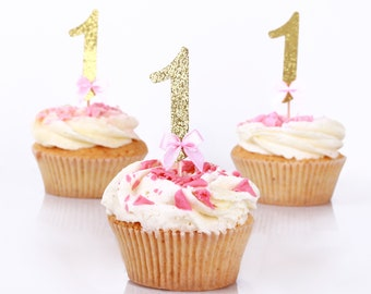 Pink and Gold First Birthday Decorations. Glitter Gold Number Cupcake Toppers First Birthday Party Decorations