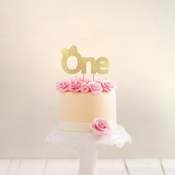 Peachy First Birthday Cake Topper Girl First Birthday Party Gold Etsy Personalised Birthday Cards Veneteletsinfo