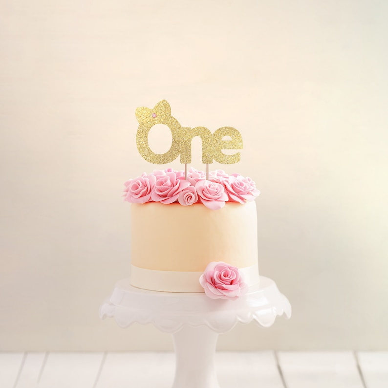 First Birthday Cake Topper Girl Party Gold