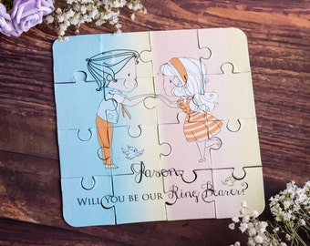 Will You Be My Ring Bearer Puzzle Invitation Page Boy Wedding Invitation Ring Bow Gift