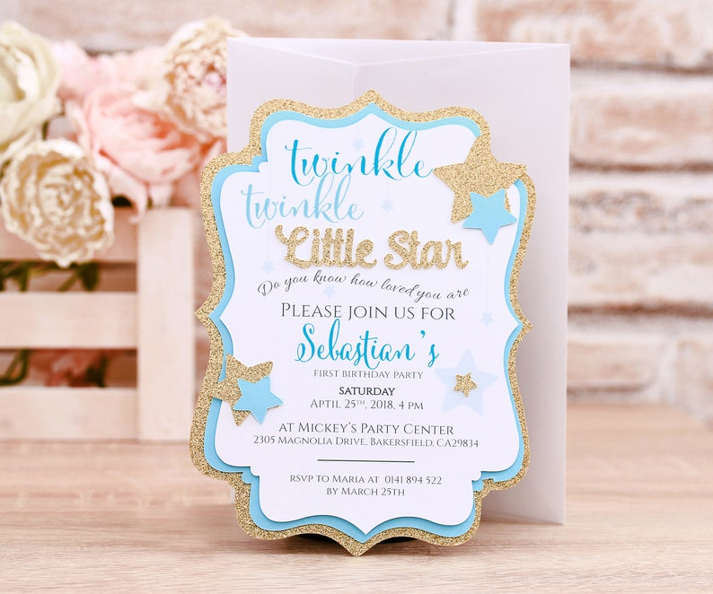 Twinkle Twinkle Little Star First Birthday Invitation Card, Blue and Gold  Baby Boy First Birthday Party Invitations, 1st Birthday Invite