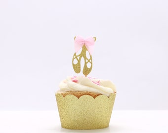 Ballerina Cupcake Toppers, Ballerina Shoes, Ballerina Birthday Party Decorations, Gold Glitter Ballerina Decorations