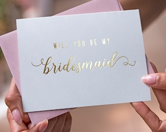 Gold Foil Will You Be My Bridesmaid Card Bridesmaid Proposal Bridesmaid Gift Bridesmaid Invitation Personalized Calligraphy Script Gold Foil