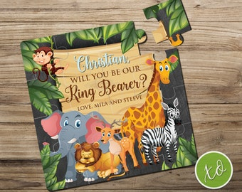 Safari Will You Be Our Ring Bearer Personalized Animals Ring Bearer Gift Puzzle Page Boy Puzzle Junior Groomsman Ring Bearer Proposal