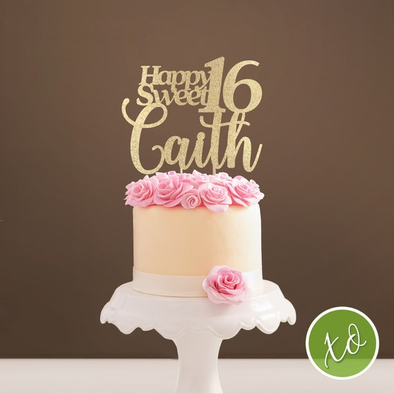 Silver Sweet 16 Cake Topper