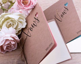 Wedding Vow Books Vow Book Personalized Wedding Vow Booklet His and Her Vows Vow Renewal - SET OF 2