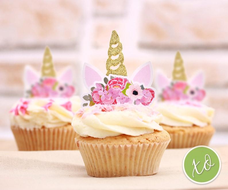 Unicorn Cupcake Toppers Unicorn Birthday Girl First Birthday Etsy