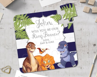 Will You Be Our Ring Bearer Dinosaur Puzzle Page boy Jigsaw Will You Be Our Page Boy Proposal Flower Girl Proposal
