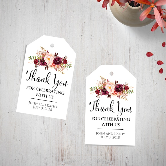 Wedding Thank You Gift Tags: Custom Wedding Thank You Tags Burgundy Floral Watercolor