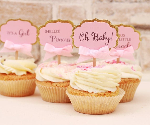 Nieuw Baby Shower Cupcake Toppers It's a Girl Toppers Pink and | Etsy YB-85