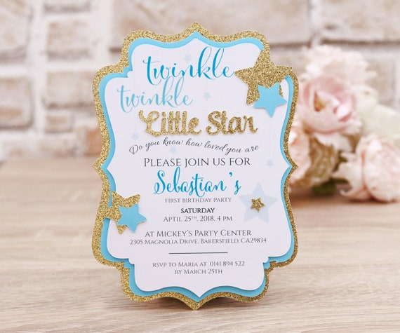Twinkle Twinkle Little Star First Birthday Invitation Card Blue And Gold Baby Boy First Birthday Party Invitations 1st Birthday Invite