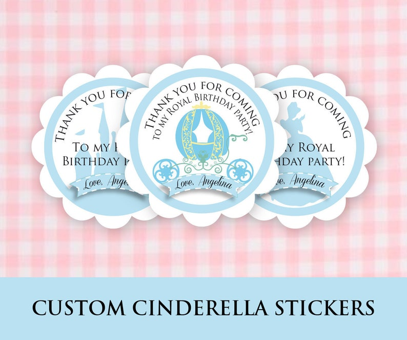 CINDERELLA BIRTHDAY PERSONALIZED PARTY STICKERS FAVORS LABELS VARIOUS SIZES
