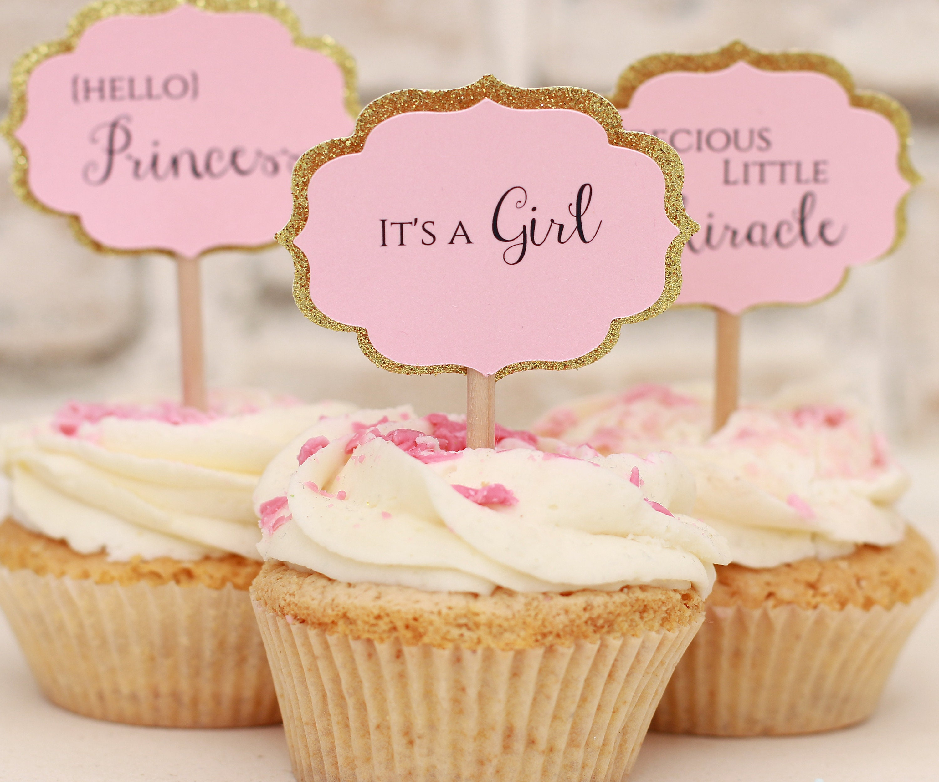 b04319208 Baby Shower Cupcake Toppers Gold and Pink Decorations. Pink and Gold Baby  Shower Cupcake Toppers. Baby Girl Shower Decoration 12CT