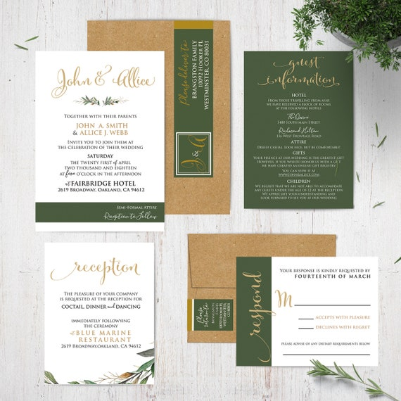 Green And White Wedding Invitation Suite Gold Wedding Etsy