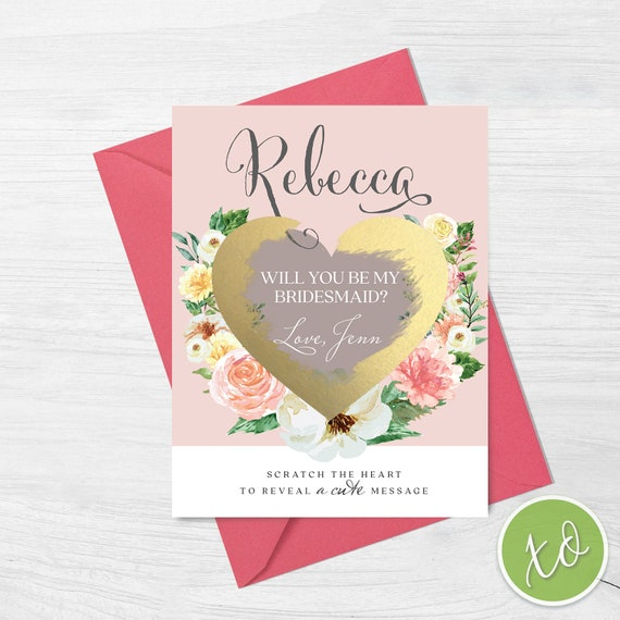 Maid of Honor Scratch off Proposal Card//Scratch offWill you be my Bridesmaid Proposal cards//Bridesmaid Proposal Card Illustration