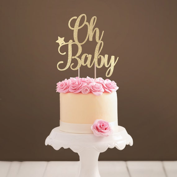 Glitter Acrylic Mirror Oh Baby Cake Topper Baby Shower Cake Decoration