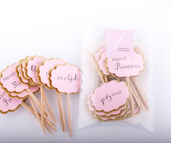 Baby Shower Cupcake Toppers Gold And Pink Decorations Pink Etsy