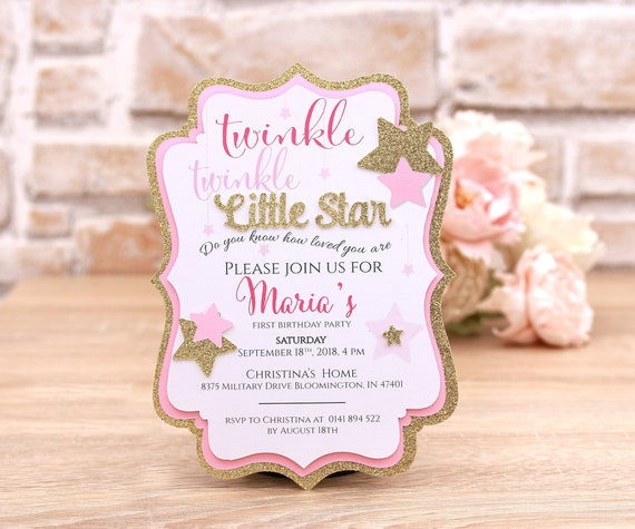Twinkle Twinkle Little Star First Birthday Invitation Card Pink And Gold Baby Girl First Birthday Party Invitations 1st Birthday Invite