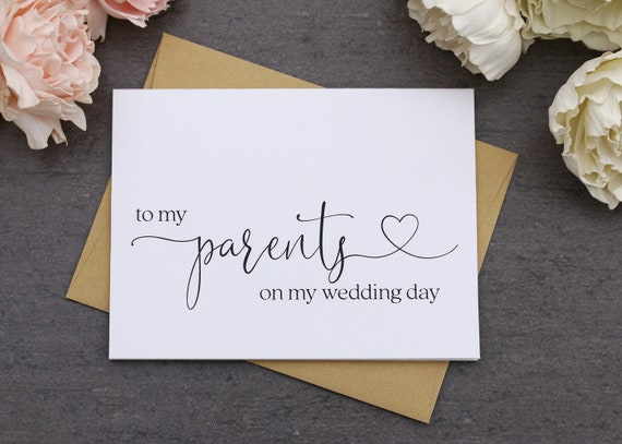 To My Parents On My Wedding Day Card Thank You Cards Wedding Etsy