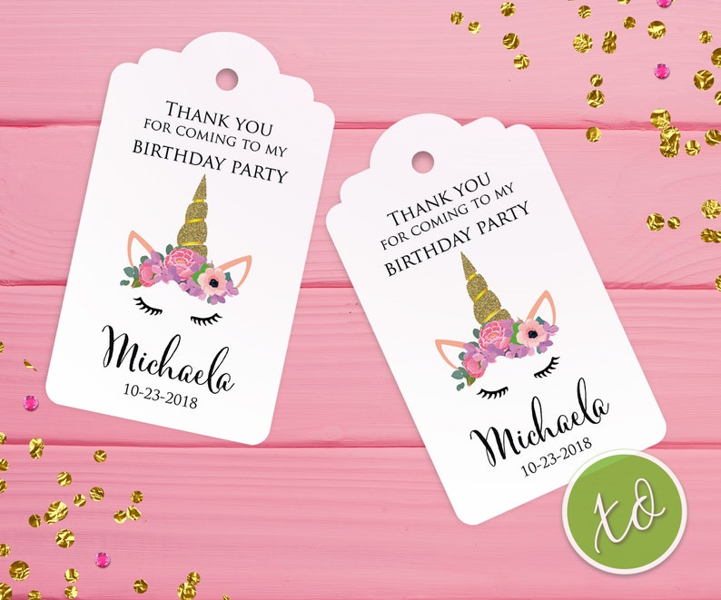Unicorn Favor Tags Thank You For Coming To My Birthday