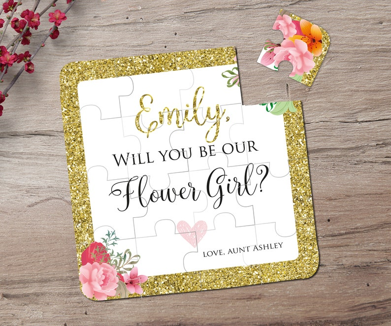Will You Be My Flower Girl Puzzle Flower Girl Gift Flower image 0