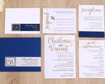 Cheap invitations etsy navy and gold wedding invitations cheap wedding invitations elegant modern wedding invite filmwisefo