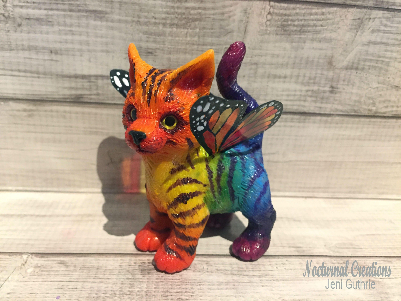 Ooak Rainbow Butterfly Unicorn Kitten Etsy