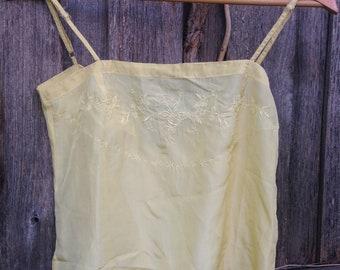 Yellow silk top