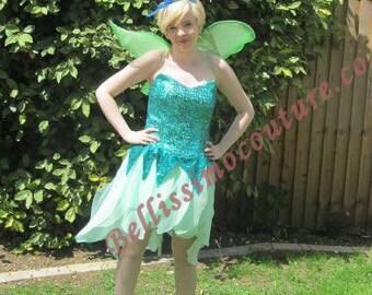 Disney Tinkerbell Dress  Green sequins Costume adult SIZE 6,8,10,12,14,16