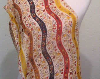 yellow print flower infinity scarf, silky infinity scarf, flower print scarf
