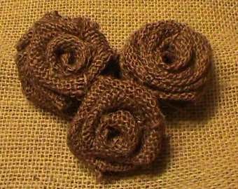 SALE ***SET Of 6 - Rustic Burlap Roses in Chocolate, Rustic Wedding Decor, DIY