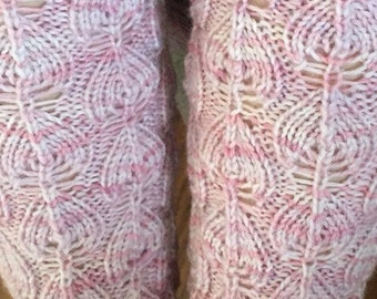 Hand knit leg warmers -  Leaf (Child)