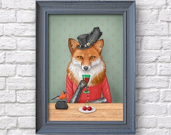 Fox affiche d'art, illustration de liqueur, art animalier impression Dame renard cadeau, dortoir Home bar décoration murale de chambre, Natalprint.