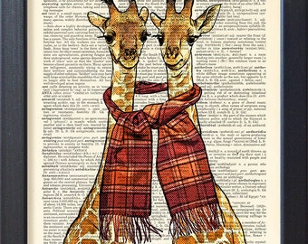 Happy Giraffes print, Funny Dictionary page poster, friendship love gift, Dorm College Home Wall decor, CODE/145