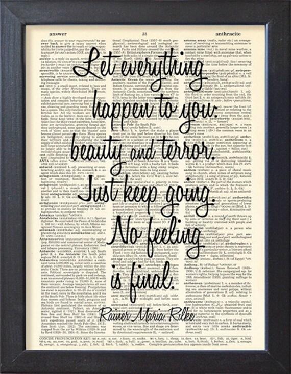 Rainer Maria Rilke Quote, Dictionary book art poster, Gift, Wall Art,  Inspirational Typographic print, CODE/165