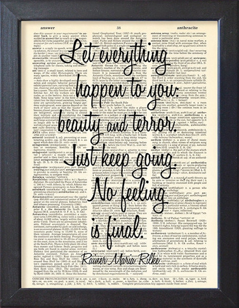85400a2f44918c Rainer Maria Rilke Quote Dictionary book art poster Gift